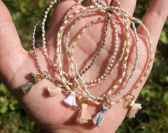 Set of Six Bracelets with Tassels