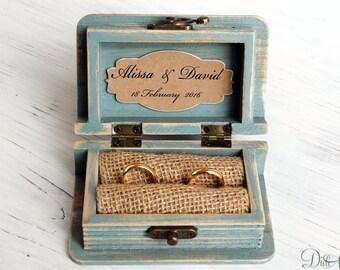 wedding ring box ring bearer box,jewelry box,Distressed Shabby,ring box, mr and mrs ring box,personalized box, Aqua Blue Box, beach wedding
