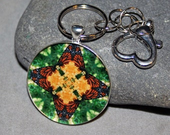 Purse Charm Monarch Butterfly Mandala Boho Sacred Geometry Keychain Bag Charm Unique Gift For Her Kaleidoscope New Age Mod Butterfly Kisses