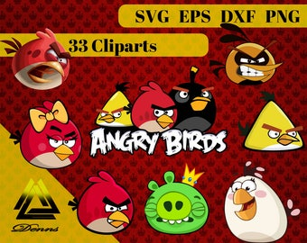 Angry Birds Clipart –33 (Svg, Eps, Png, Dxf Files) 300 PPI, Vectorial Images, Angry Birds svg, T-Shirt Design,Angry Birds Printable