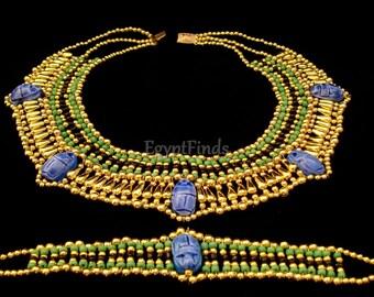 Wonderful Egyptian Beaded 5 Scarabs Cleopatra Scarab Necklace Collar & Bracelet