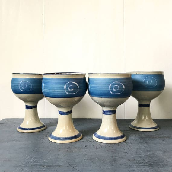studio pottery goblets - handmade ceramic barware - boho wine glasses - wedding table - toasting glasses - Set of 4