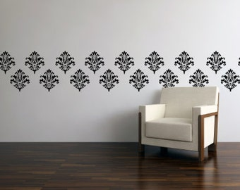Modern Wall Decals - Vinyl Wall Paper - Damask Wall Decal - Vinyl Damask 0008