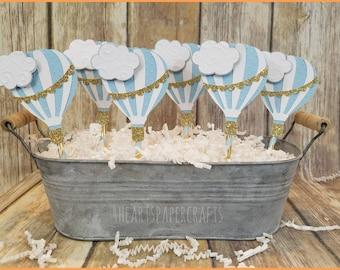 Hot Air Balloon Cupcake Toppers, Baby Blue Hot Air Balloons