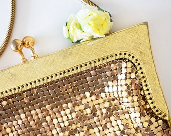 Vintage 1960s Gold Mesh Evening Bag with Corsage Detail