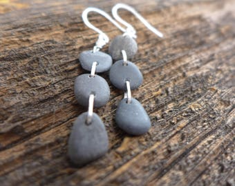 Triple Pebble Beach Stone  Earrings
