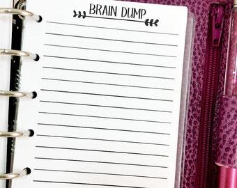 Pocket Brain Dump printed planner insert refill - lined paper - note taking