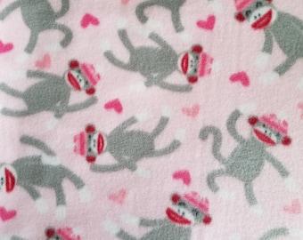 Pink Sock Monkey Hand Tied Fleece Blanket