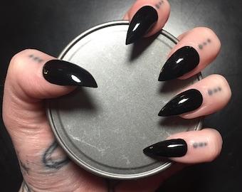 Black Stiletto Nails - Full Set