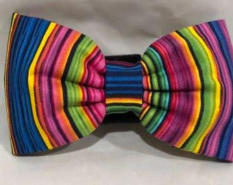 Dog Flower, Dog Bow Tie, Cat Flower, Cat Bow Tie - Multi Pinstripe