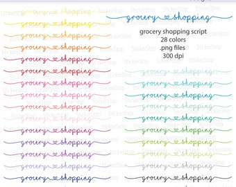 Grocery Shopping Script Icon Digital Clipart in Rainbow Colors - Instant download PNG files