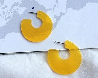 30mm Clear Acrylic Hoop Earrings | Acetate Hoop Earrings