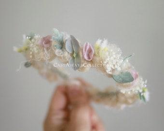 New! NEWBORN FLOWER CROWN {Claireabella} Newborn Photo Prop, Floral Crown, Newborn Headband, Newborn Tieback, Newborn Halo, Photo Props, rts