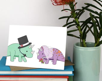 Wedding Card, Dinosaur wedding cards, dinosaur card, triceratops, love card, marriage, funny cards, bride and groom, wedding, cute wedding