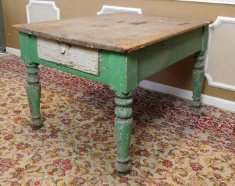 Very Rustic & Primitive Distressed Country Painted Pine Single Drawer Work Table c1890