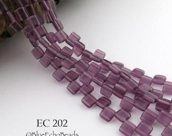 6mm 2 Hole Czech Glass Translucent Matte Purple Square Tile Bead (EC 202) 25 pcs BlueEchoBeads