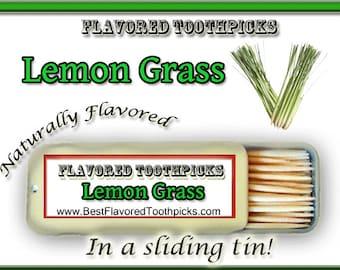 Lemongrass Tea Flavored Toothpicks - 70+ Flavors! Lemongrass Tea, Lemongrass Plant, Lemongrass Oil, Candy, Tea, Sliding Tin, Herbal, Herb