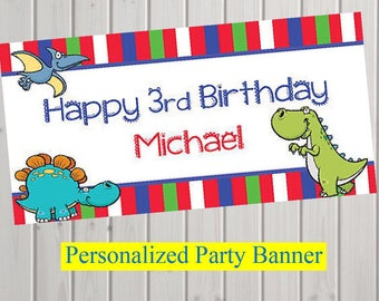 """18""""x30"""" Personalized Dinosaur Party Banner   T-Rex   Stegasaurus   Dino Party Personalized Party Banner   Dino Dig Custom Banner"""