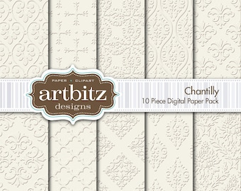 "Chantilly Damask 10 Piece Emboss Texture Digital Scrapbooking Paper Pack, 12""x12"", 300 dpi .jpg, Instant Download!"