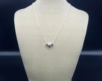 Minimalist silver square bead necklace