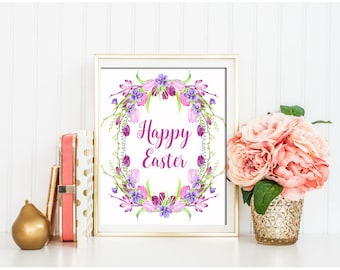 Easter Wall Art Happy Easter printable art Easter home decor He is Risen wall decor Spring printable Easter Sign Easter flower print