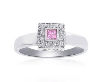0.15 Carat Princess Cut Diamond with Pink Sapphire Ring 14K White Gold