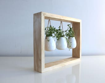 Hanging Herb Garden with Wooden frame - The Perfect Eco-Chic Housewarming Gift