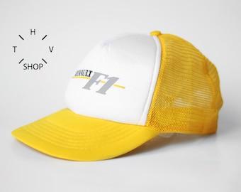 NOS Vintage Renault Formula Uno One 1 F1 trucker / Racing Driving Yellow White cap / Grand Prix Monza Monaco car racing hat / 80s 90s OG