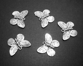 5 Butterfly Charms, 15x18mm, Antique Silver Butterfly Charms, Butterfly Charm, Butterflies, Butterfly Pendant, Silver Butterfly Charm  A-019