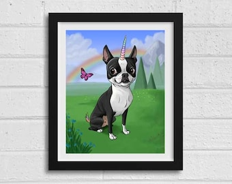 Boston terrier unicorn, Boston Terrier gifts, Boston Terrier lovers, boston terrier art print, wall decor, home decor