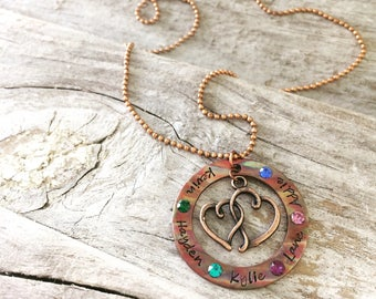 Mom Necklace / Gifts for Her / Copper Necklace / Family Necklace / Kid Name Necklace