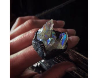 Aura Quartz Crystal Cluster Copper Ring - Bohemian Gypsy Aura Ring - Antiqued Crystal Cluster ring