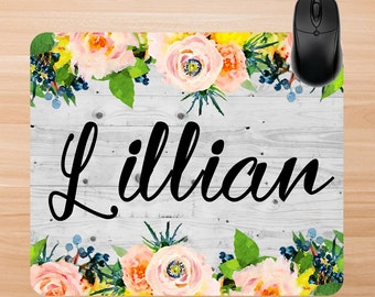 Custom Mouse Pad. Personalized  Mouse Pad. Floral Mouse Pad. Office Gifts, Promotional Gifts, Teachers Gifts. Custom Home Office.
