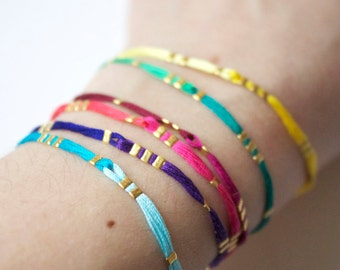cotton yarn and gold flat Beads Bracelet