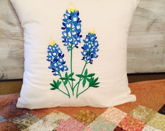 Embroidered Bluebonnets throw pillows