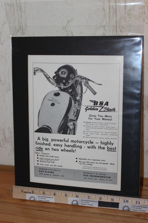 1958 Vintage BSA Golden Flash 11'' x 14'' Matted Motorcycle Ad Art #5712amot08m