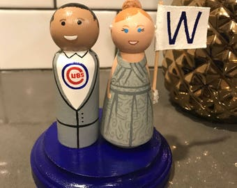 Unique Made to Order Sports Fan Specific Wooden Cake Topper Bride & Groom with Stand - Chicago Cubs and Fly the W flag