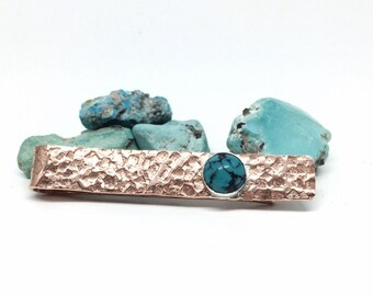 Copper Turquoise Tie Bar, Necktie Clamp, Mens Jewelry Accessories, Western Tie bar, Tie Clasp, Gifts for Men