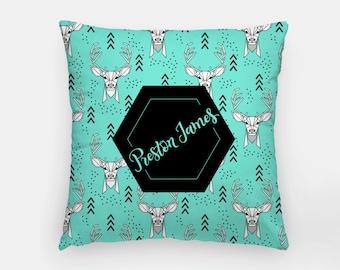 Pillow - Custom name - Deer - Mint