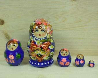 Strawberry Nesting Dolls Matryoshka Stacking dolls in blue set of 5