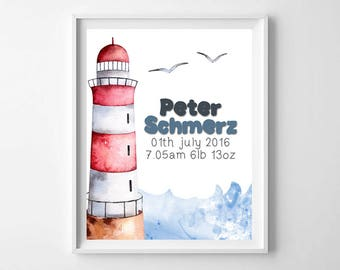Lighthouse art,Newborn wall art,Personalised Nursery Print,Little pirate print,Birth data sign,Custom Birth Sign,New Baby Sign,New Baby Gift