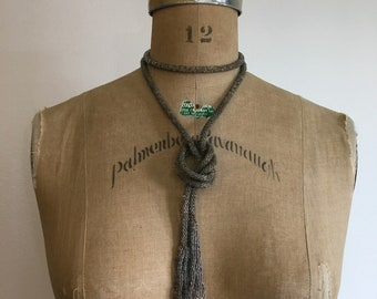 1920s Gray Sautoir Lariat Deco Beaded Rope Necklace 20s Flapper Necklace