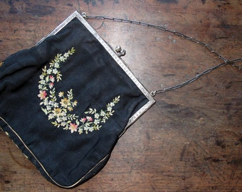Vintage Antique Art Deco Crewel Purse Black Taffeta Embroidered Crochet Thread Floral Evening Bag Silver Chain