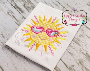 Shining Summer Sun Appliqué Embroidery Design, Smiling Sun, Beach, Summer, Spring, Girly, Girl,  5x7, 6x10, 9x9