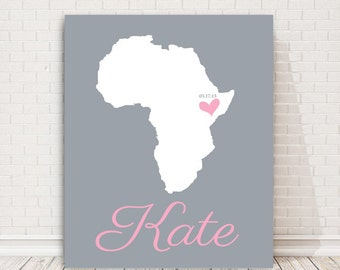 Personalised Map Art for childrens room Nursery Baby gifts pink nursery Baby Birth place Canvas Art Baby girl gift Baby boy gift best friend
