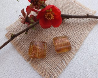 Set of 2 square beads GOLD color amber 20x20mm