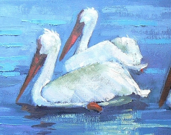 """Daily Painting, Birds, """"Parading Pelicans""""  Original ,Oil, 6x18"""", Free shipping in US"""