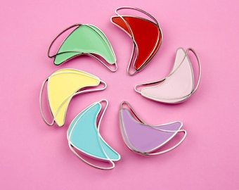 The Atomic Boomerang Brooch in Base/Pastel