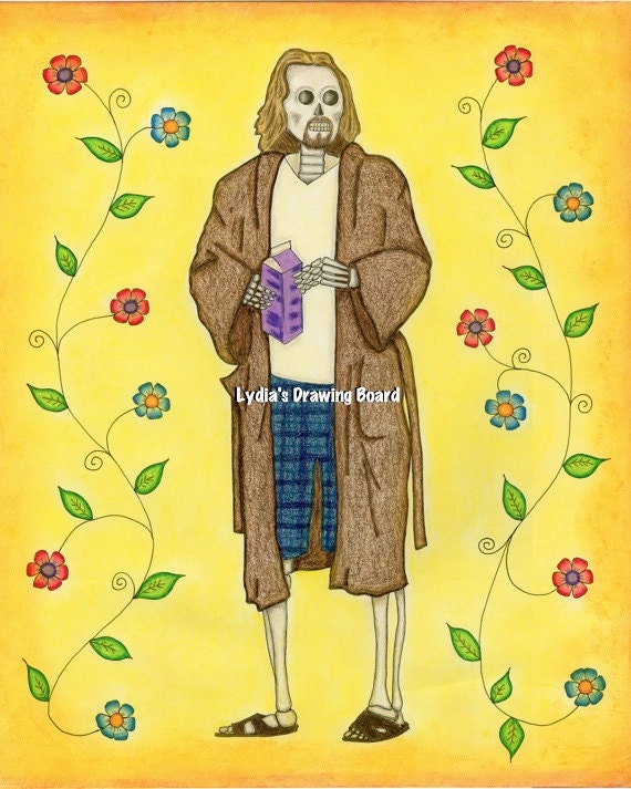 Day of the Dead, Day of the Dead Art, The Dude, The Dude Abides, The Big Lebowski, Big Lebowski, Fan Art, Whimsical Art, Mexican Art, Art