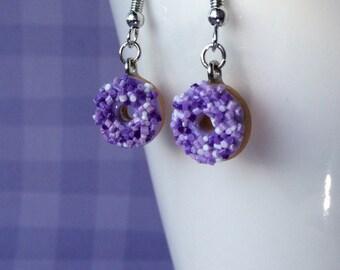 Cute mini purple sprinkle donut earrings - bakery charms